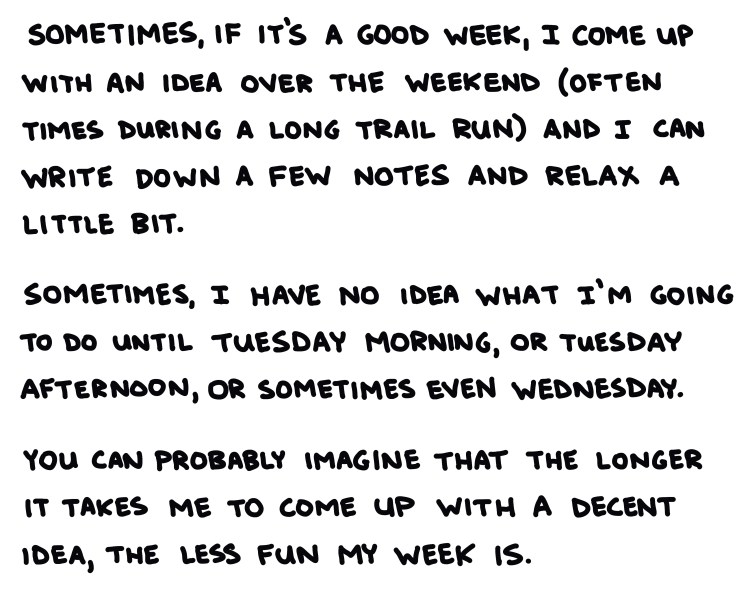 handwritten text: sometimes, if it's a good week, I come up with an idea over the weekend (often times during a long trail run) and I can write down a few notes and relax a little bit. Sometimes, I have no idea what I'm going to do until Tuesday morning, or tuesday afternoon, or sometimes even Wednesday. You can probably imagine that the longer it takes me to come up with a decent idea, the less fun my week is.