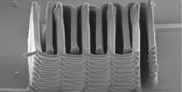 This image shows the interlaced stack of electrodes that were printed layer by layer to create the working anode and cathode of a microbattery. Photo by Jennifer Lewis.