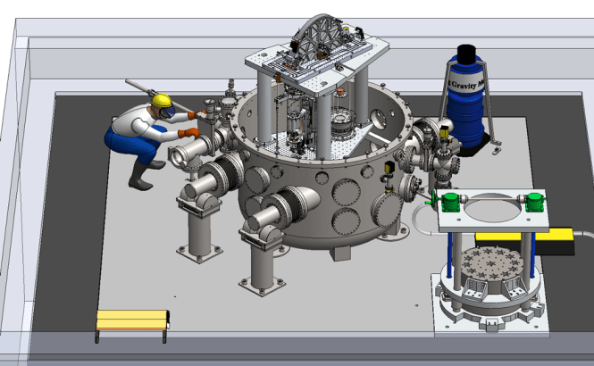 NIST-4 is being assembled in one of NIST's advanced measurement laboratories, where it is slated for operation later this year. The device at right front is the permanent magnet and its mount. The blue object at the back is an absolute gravimeter. Source: NIST.
