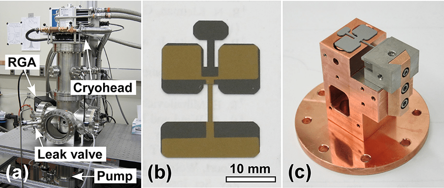 (a) Test chamber with cryogenic cooler at top, vacuum pump at bottom, and residual gas analyzer at left. (b) Geometry and dimension of the double-paddle oscillator. (c) Close-up of the sample mount with a DPO assembled. (Source: NIST)