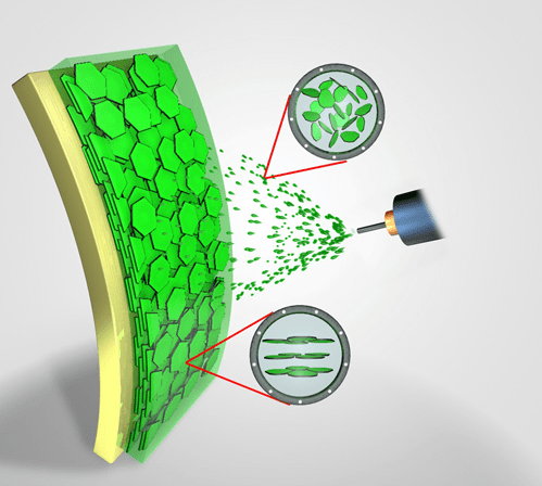Researchers use common spray gun to create self-assembling nanoparticle films. (Source: Texas A&M).