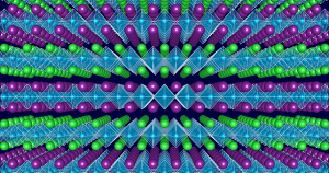 Atomic scale structure of 'designer' layered oxides: Band-gap engineering is enabled by varying the sequence of the well-defined layers, seen as planes of similarly colored (green and purple) atoms, in transition metal oxides without changing the materials overall chemical composition. (Source: Northwestern)