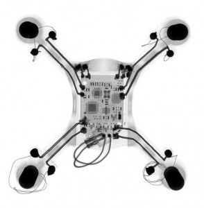 CT scan of a 3D printed quadcopter, which shows the traces, the embedded PCB, and motors (Source: Voxel8)