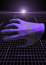 """This artistic rendering depicts electronic devices created using a new inkjet-printing technology to produce circuits made of liquid-metal alloys for """"soft robots"""" and flexible electronics. Elastic technologies could make possible a new class of pliable robots and stretchable garments that people might wear to interact with computers or for therapeutic purposes. (Source: Purdue University)"""