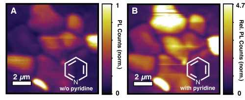 """The quality of the perovskite materials for electronic device applications improved after chemical treatment, remediating the """"dark"""" areas. (Source: University of Washington)"""