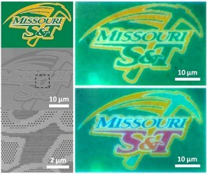 Missouri S&T has developed a method to print images on nanoscale materials. They used the Missouri S&T athletic logo to demonstrate the process. (Source: Missouri S&T)