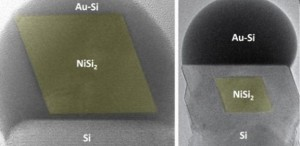 Images recorded in the electron microscope showing the formation of a nickel silicide (NiSi2) nanoparticle (colored yellow) in a silicon nanowire (Source: University of Cambridge)