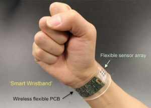 """A new sensor developed at UC Berkeley can be made into """"smart"""" wristbands or headbands that provide continuous, real-time analysis of the chemicals in sweat. (Source: UC Berkeley)"""