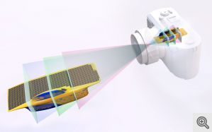 An illustration showing how a new 3D camera will be designed to work. Here, it takes a 3D photo of a University of Michigan solar car. In this new method, objects at different distances from the lens will come into focus at different points inside the camera.  (Source: Michigan Engineering)