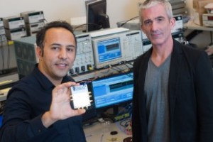 Rice University engineering researchers Aydin Babakhani (left) and Edward Knightly are taking a page from the radio inventor Guglielmo Marconi to create the first laser-free, wireless system capable of delivering 1 terabit of data per second. (Source: Rice University)