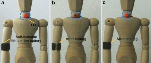 """The battery as an armband on a doll. (Source: """"A Self-Healing Aqueous Lithium-Ion Battery""""/Wiley-VCH 2016)"""