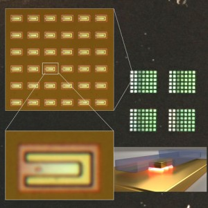 These optical micrographs provide a top-down view of several plasmonic gap resonators. (Source: NIST)