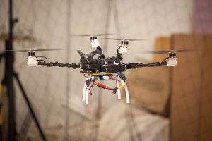 """A four-rotor """"bunnycopter"""" developed at MIT's Computer Science and Artificial Intelligence Laboratory features propellers at different heights.   (Source: MIT CSAIL)"""