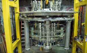 The world-record 36-tesla series connected hybrid before being lowered into its cryostat. (Source: MagLab)