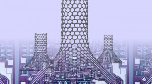 Simulations by Rice University scientists show that placing cones between graphene and carbon nanotubes could enhance heat dissipation from nano-electronics. The nano-chimneys become better at conducting heat-carrying phonons by spreading out the number of heptagons required by the graphene-to-nanotube transition. (Source: Rice University)