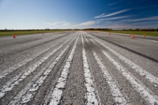 Race way with pylons at an airport runway landing strip