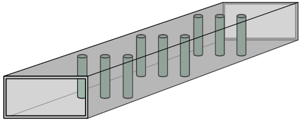 Fig. 6: A simplified waveguide filter using posts as resonators. Source: Wikipedia user SpinningSpark