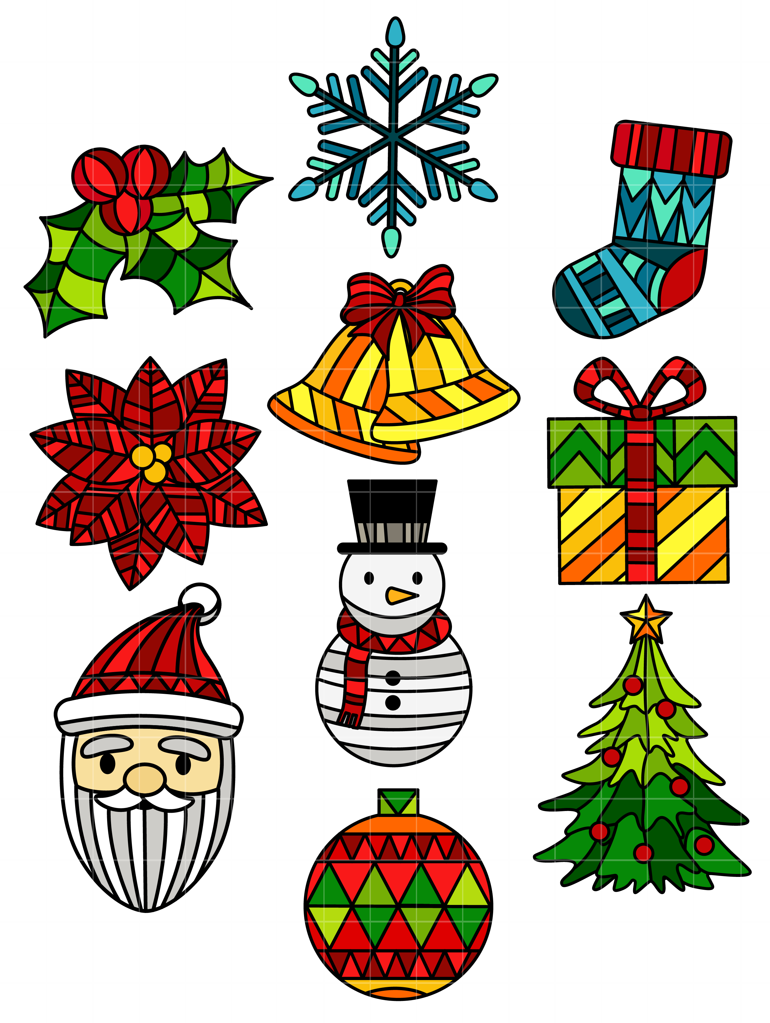 Stained Glass Christmas Set Semi Exclusive Clip Art Set