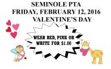 Seminole PTA – $1 Wear red Pink or White