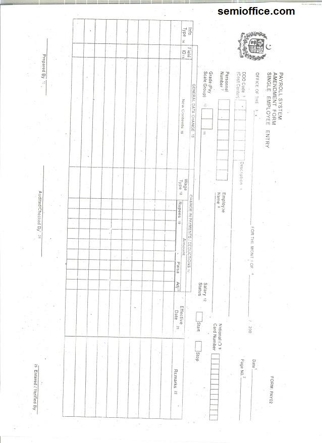 Employee Salary Change Form Government of Punjab