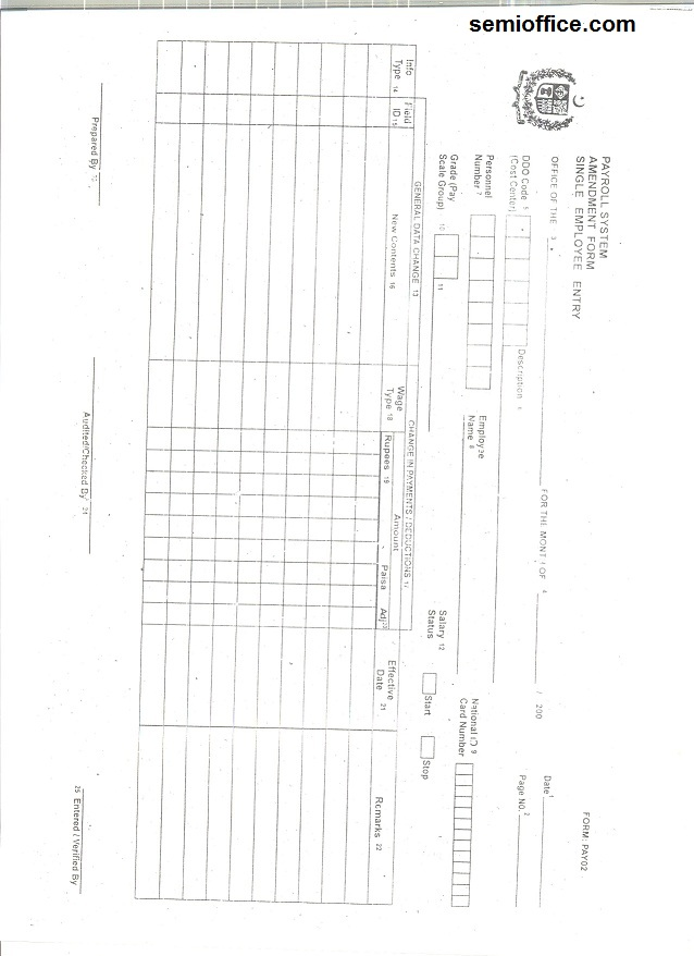 Employee Salary Change Form Government of Punjab