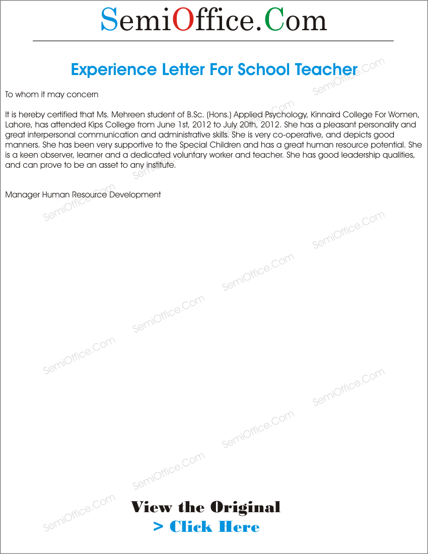 Experience_Letter_For__Teacher Application Letter For Teachers With Experience on