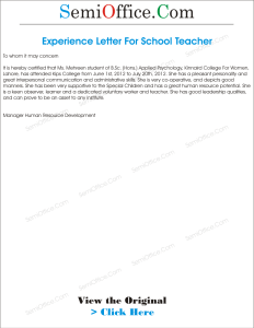 Experience Letter For School Teacher