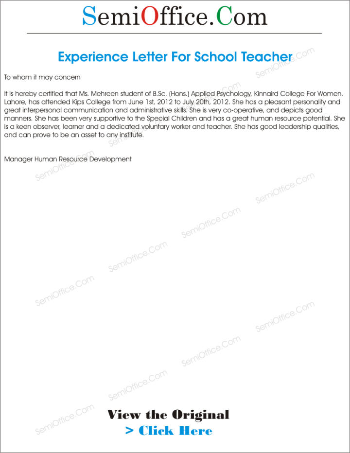 Experience letter format for primary teacher docoments ojazlink sample experience certificate letter format for pre primary school yelopaper Gallery