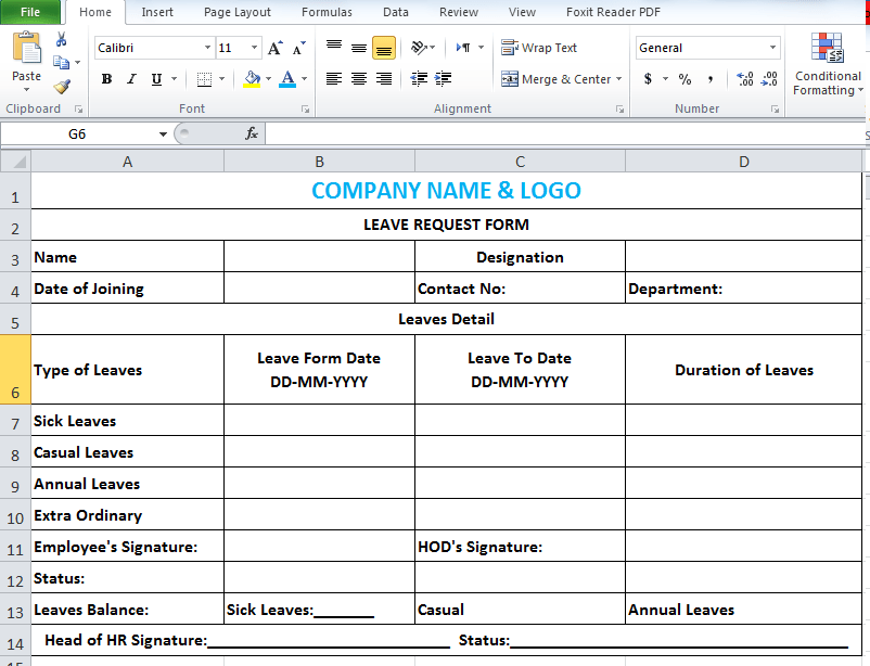 Leave Application Form Template In Excel  Employee Leave Application Form
