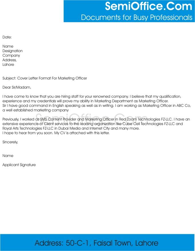 Cover Letter Format For Marketing Officer Job