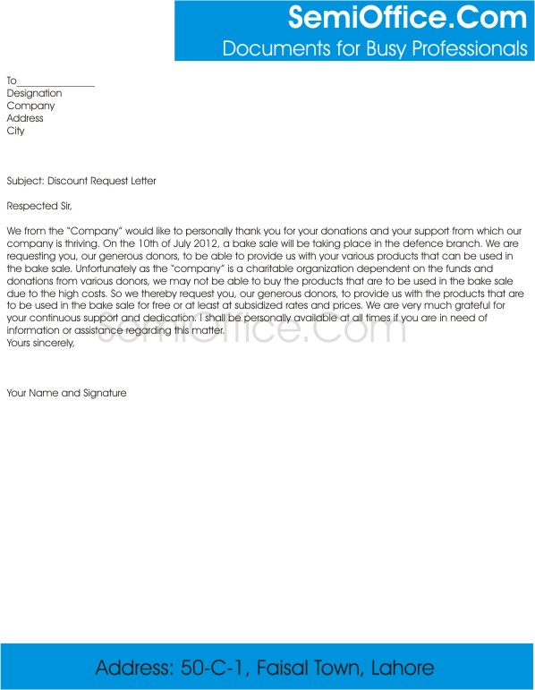 Discount Request Letter Template of Purchase