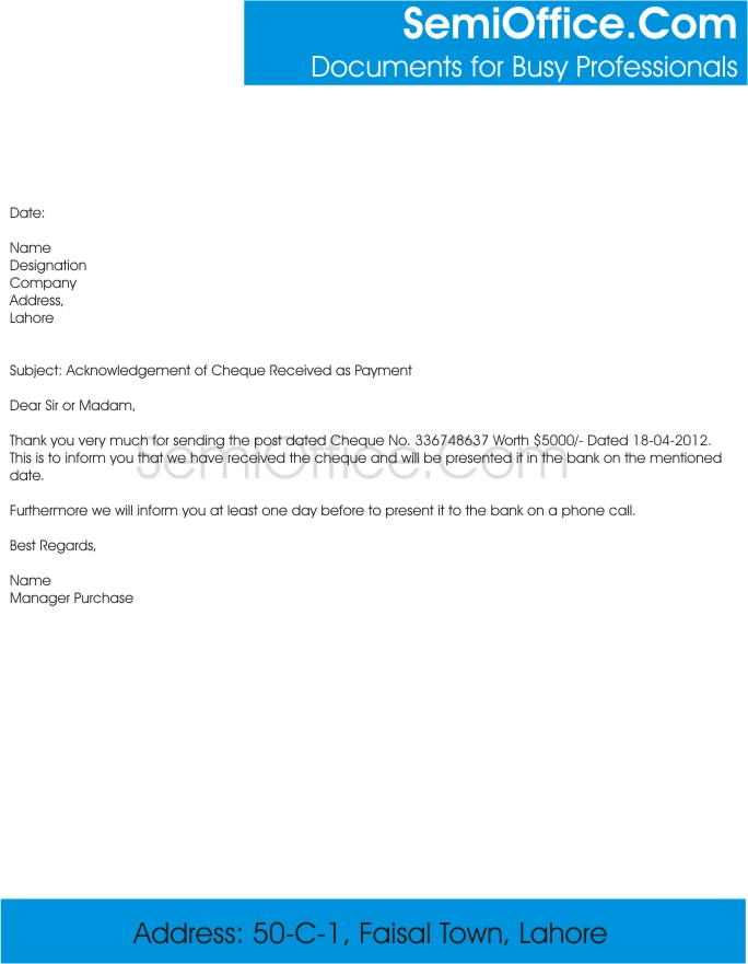 Letter of Acknowledgement of Cheque Received