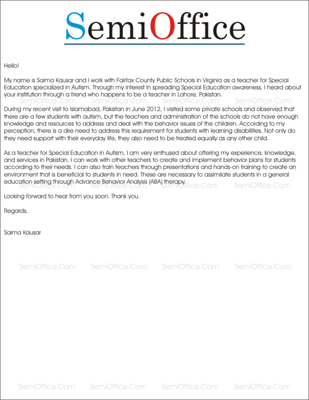 Application Letter for College Teacher Free Download