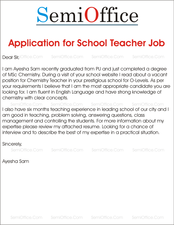 Writing a application letter for a teaching post