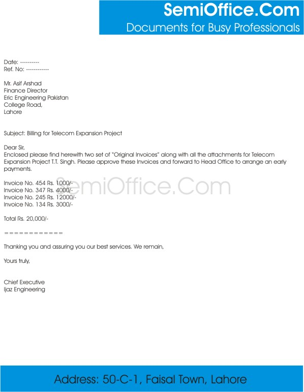 Billing Cover Letter Sample For Project Expansion  Invoice Cover Letter