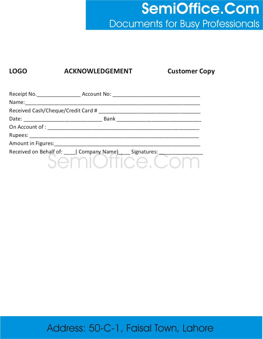 Sample acknowledgement receipt template acknowledgement receipt format altavistaventures Image collections