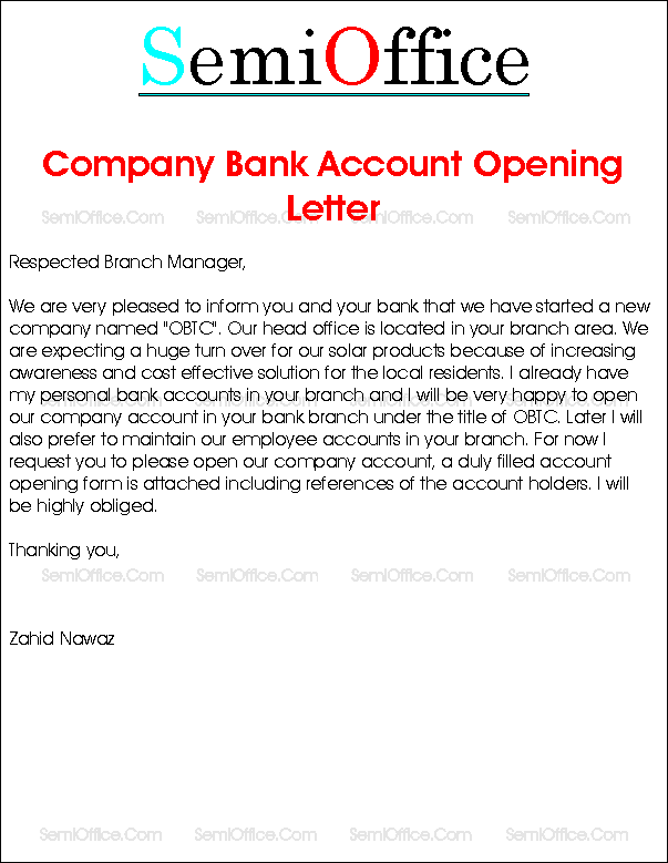 Company Bank Account Opening Request Letter
