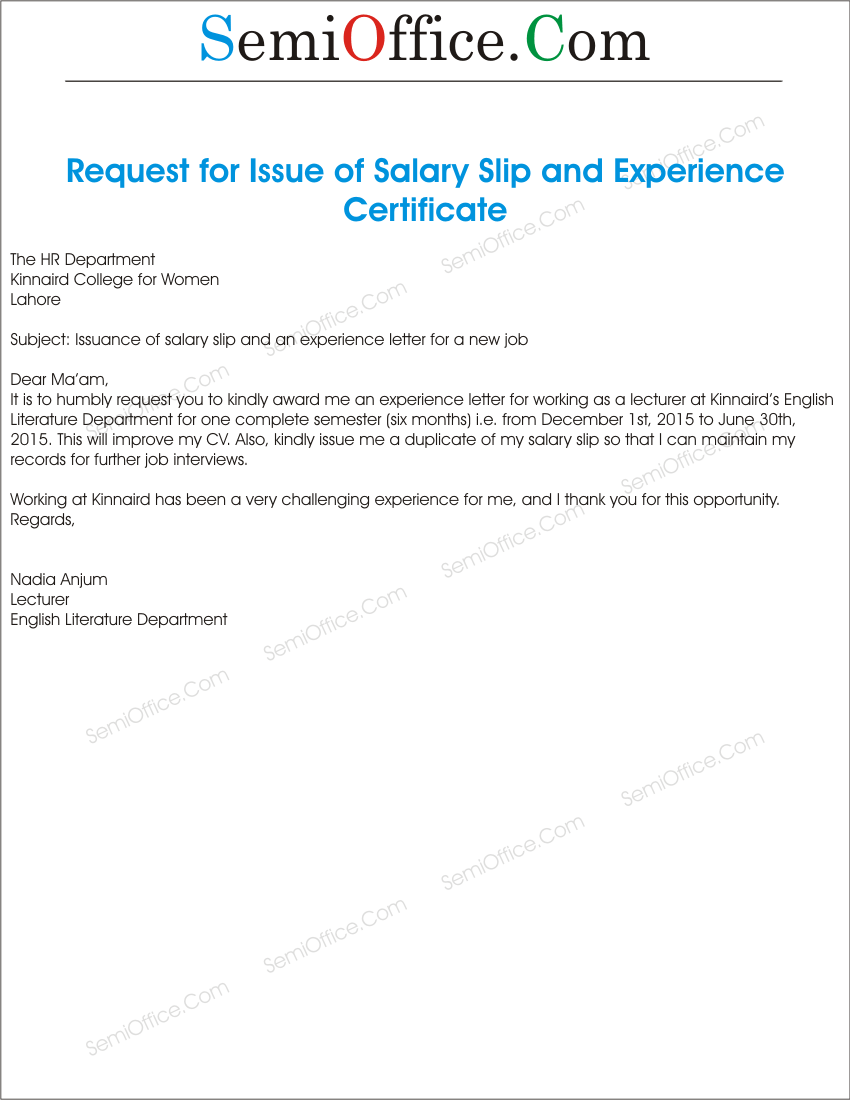 Salary Slip Request Letter Format