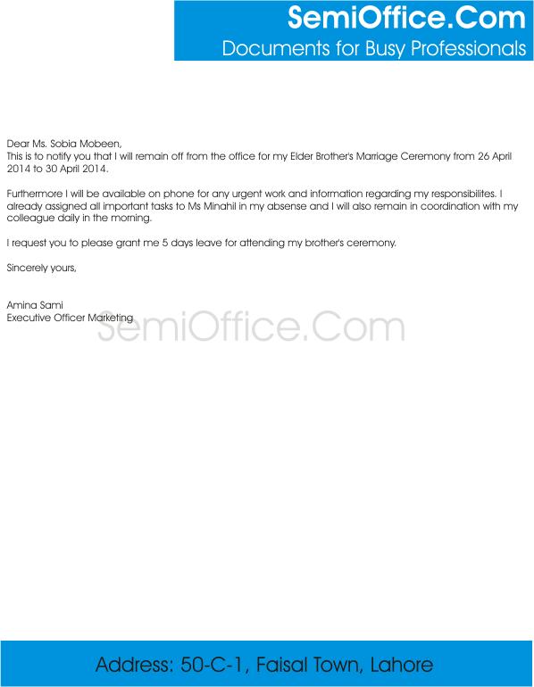 Brotheru0027s Wedding Leave Application Sample In Email  Application Sample For Leave