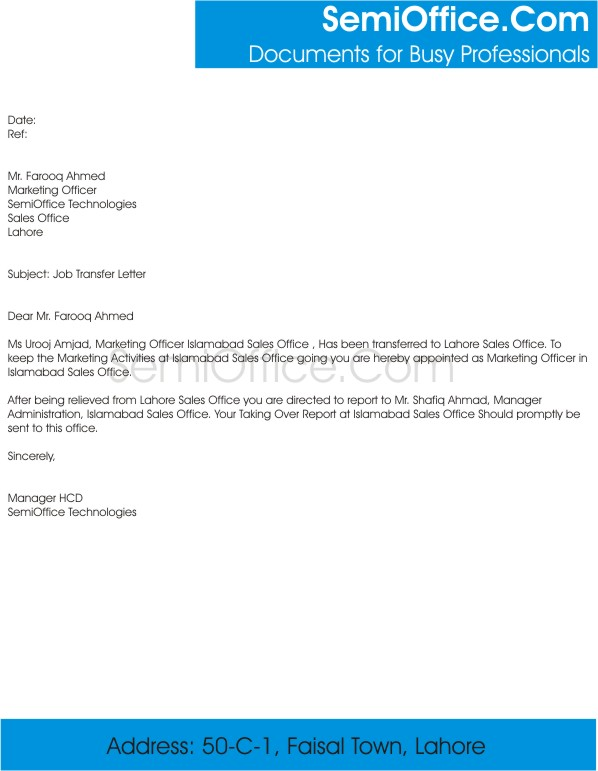 Job Transfer Letter From Employer Example