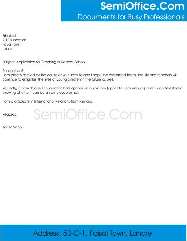 sample application for the post of teacher in school semioffice com
