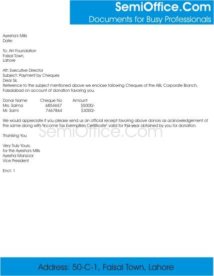 cheque sending letter format