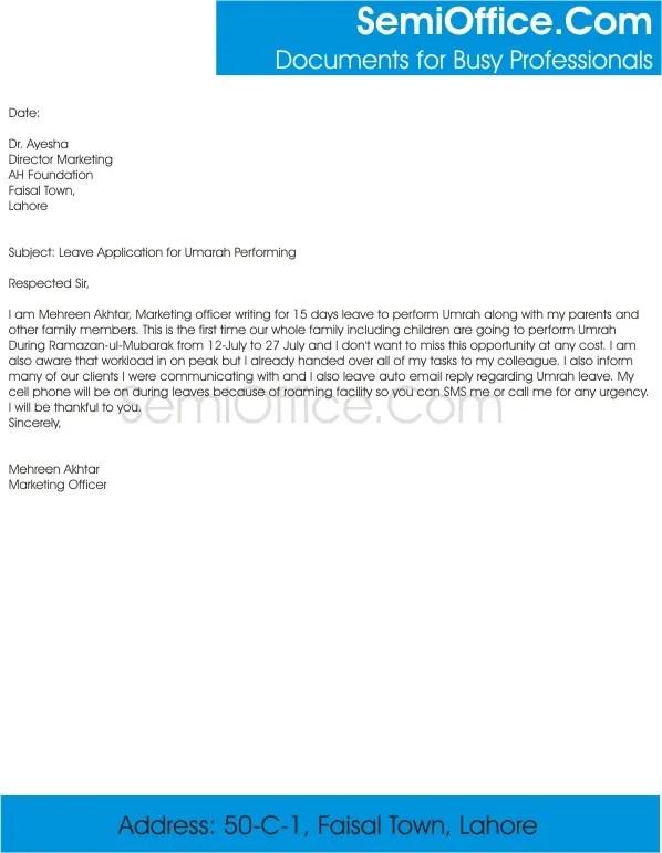 Leave Application for Umrah