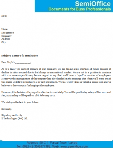 Letter Of Termination From Employer  Company Termination Letter