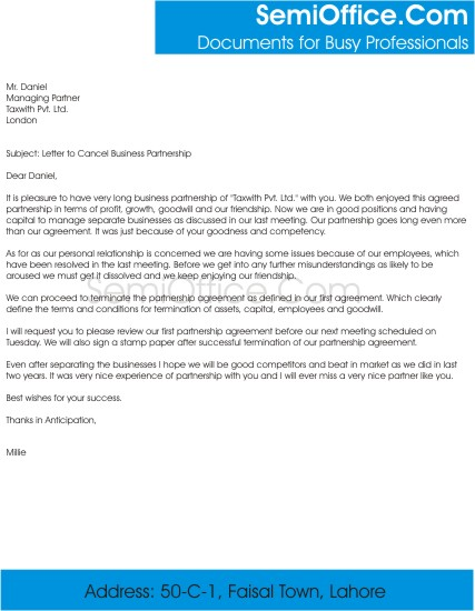 Letter to Cancel Business Partnership