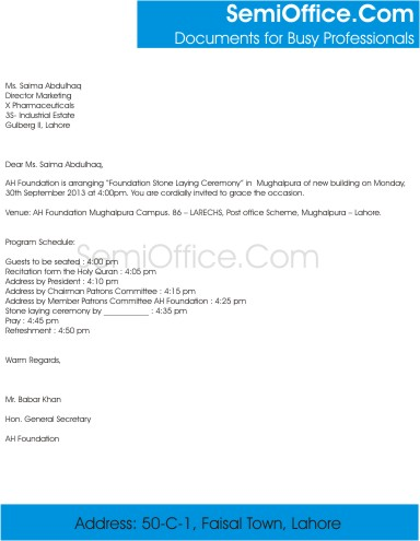 Foundation Stone Laying Ceremony Invitation Letter anc Card