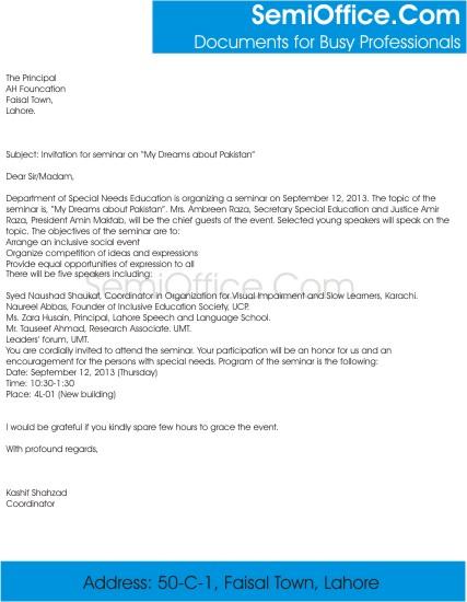 Invitation Letter For Seminar Participants