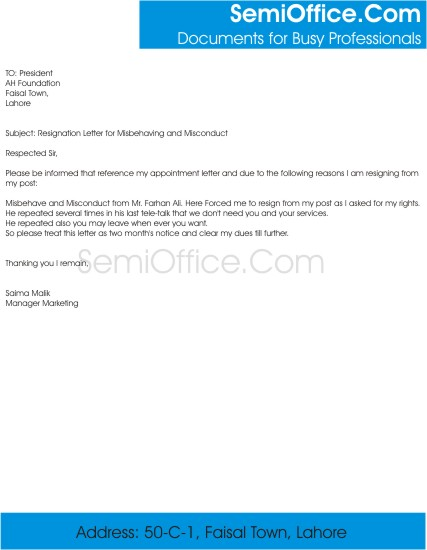 Resignation Letter for Misbehaving, and Misconduct of Boss