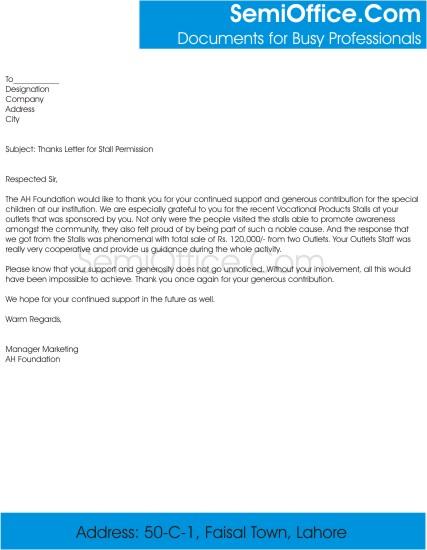 Thanks Letter for Stall Permission
