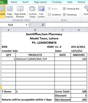 Pharmacy Bill Format in Excel Free Download